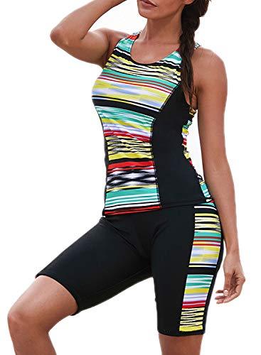ROSKIKI Womens Striped Color Block Tankini Swim Capris Racerback Tank Surfing Swimsuit Sporty Swimwear with Shorts