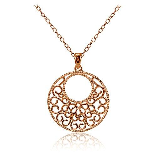 Silver Medallion Necklace (Rose Gold Flashed Sterling Silver High Polished Medallion Filigree Necklace)