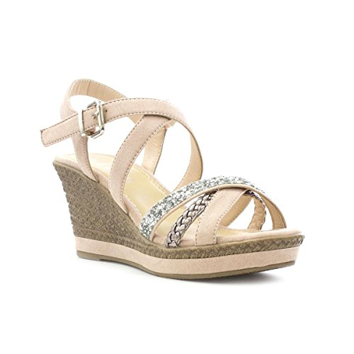 Lilley Womens Nude Cross Strap Wedge Sandal Rosa