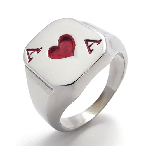 TEMEGO Jewelry Mens Stainless Steel Ring, Playing Card Poker Heart Band, Red Silver - Playing Cards Ring