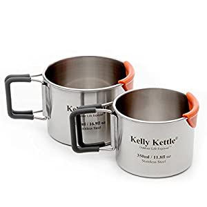 Camping Cups - Kelly Kettle - Packable - Stainless Steel - Large Cup is 17 oz. and Small Cup is 12 oz.
