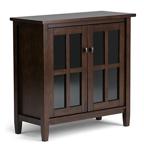 Simpli Home Warm Shaker Solid Wood Low Storage Cabinet, Tobacco Brown Brown Storage Cabinet