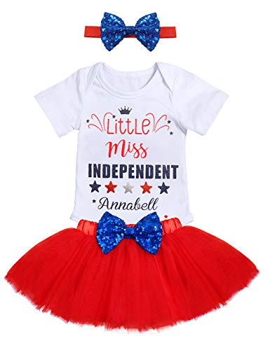 4th of July Baby Girls Outfit Little Miss Independent Bodysuit Bow Tutu Dress with Headband Infant Patriotic Clothes Set(Size80/3-6M) White ()
