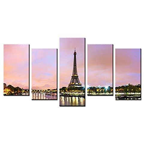 CHARM HOME 5Pcs/Set Modern Paintings Canvas Effiel Tower Printed Wall Picture Art Poster Canvas Scenery Paints For Sitting Room - Rectangle Picture Frame Charms