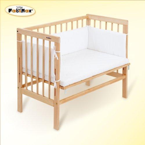 FabiMax 2386 Beistellbett Basic inklusiv Matratze Comfort und Nest Amelie, natur / weiß