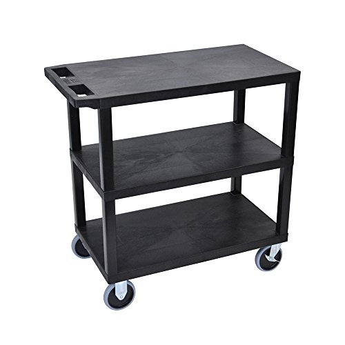 """Black Luxor 18/""""x32/"""" 3 Flat Shelves Rolling Utility Cart with 4/"""" Casters"""