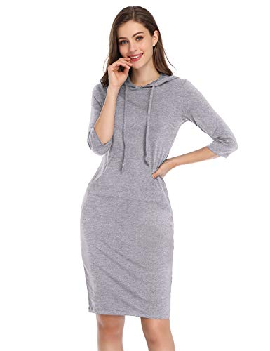 MISSKY Gray White Dresses for Women 3/4 Long Sleeve Pocket Knee Length Hoodie Dress Sweatshirts for Women (M, Grey - Striped Suit Gray