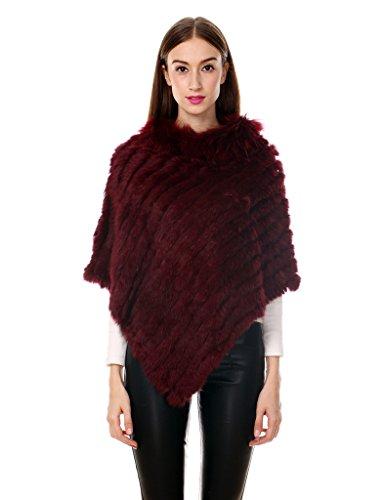 Ferand Women's Winter Elegant Knitted Rabbit Fur Poncho Cape with Warm Raccoon Fur Collar with Asymmetrical Hem, One Size, Burgundy ()