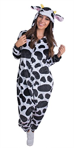 Furry Costumes For Adults (Adult Onesie Cow Animal Pajamas Comfortable Costume with Zipper and Pockets (Large))