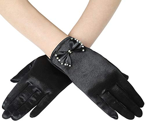 BABEYOND Womens Short Gloves Satin Bowknot Gloves for Wedding Opera Party 1920s flapper Stretchy Gloves Adult Size (Black) -