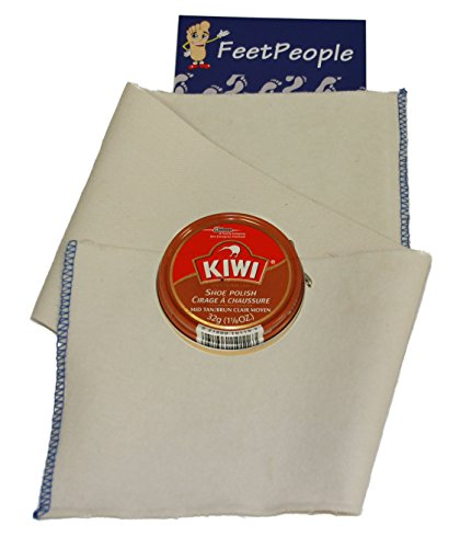 FeetPeople Professional Shoe Shine Buffing Cloth with Kiwi Mid-Tan Paste, 1.125 oz, 1 Pack Combo