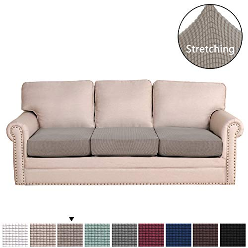 H.VERSAILTEX Super Stretch Stylish Furniture Cover/Cushions Covers Slipcover Spandex Jacquard Small Checked Pattern Super Soft Slipcover Machine Washable Individual (3-Piece Sofa Cushion, Taupe) (Couches Super Cheap)