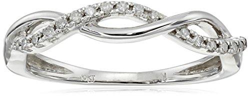 10k White Gold Diamond 1/10cttw Twist Ring, Size ()