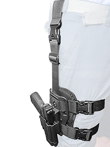Adjustable Holster - Orpaz Glock Drop-Leg Thigh Holster Level 2 Thumb Release 360 Rotation & Tension Adjustment Polymer Tactical Holster