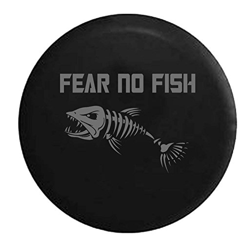 - Stealth - Fear No Fish Skeleton Fishing Hunting Bass Walleye Spare Tire Cover Vinyl Black 31 in Spare Tire Cover Vinyl Black 31 in