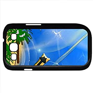 Cat Kittycat Beach (Beaches Series) Watercolor style - Case Cover For Samsung Galaxy S3 i9300 (Black)