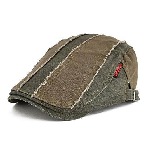 (Summer Men Women Patchwork Ivy Flat Cap Newsboy Style Cabbie Gatsby Beret Hat,A Branch,58-60cm)