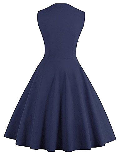 Minetom Mujer Mini Vestido Moda Atractiva Dress Cuello Redondo Sin Tirantes Dress Guay Verano Sin Mangas Chaleco Polka Dot Decoración Del Botón Retro 1950S Azul Oscuro