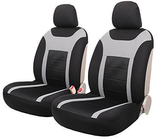 Leader Accessories Super Speed Cloth Fabric Front Seat Covers Set of 2 Universal for Cars Trucks SUVs with 2 Headrest - Set Headrest