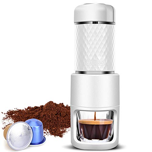 STARESSO Portable Espresso Maker, Upgraded 20 Bar Manual Espresso Machine for Capsule & Ground Coffee, Reddot Award Winner, Perfect Gifts for Coffee Lovers Camping Travel Kitchen Office