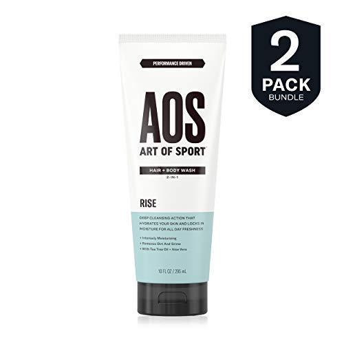 Art of Sport Men's Body Wash with Tea Tree Oil and Aloe Vera, Rise Scent, Dermatologist-Tested, Paraben-Free, Hypoallergenic, Moisturizing Shower Gel (2 - Tea Shampoo Tree Sport