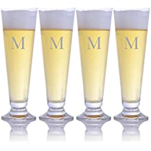 Personalized Waterford Crystal Pilsner Beer Glass 4pc Set Engraved & Monogrammed - Great for Groomsmen Gift or a Home Bar Addition