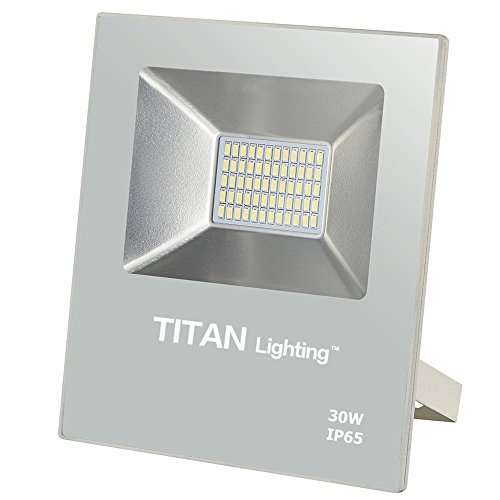 Titan Lighting White Frameless 30W Led Flood Lights, 150W Halogen/CFL Replacement, 2550LM, 6000K Day Light, Waterproof, 120-277V, Instant on