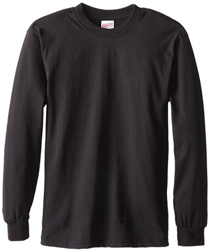 Soffe Big Boys' Long Cotton Sleeve T-Shirt, Black, (Black Boys Long Sleeve Shirt)