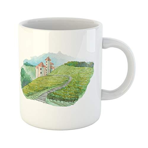 (Semtomn Funny Coffee Mug Painting Watercolor Vineyard Landscape Scene French Wine Label Illustration Raster 11 Oz Ceramic Coffee Mugs Tea Cup Best Gift Or Souvenir)