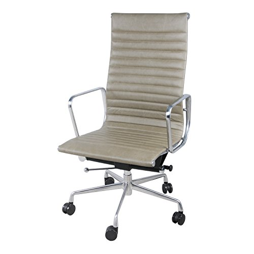 New Pacific Direct Langley PU Leather High Back Office Chair,Chrome Legs,Vintage Smoke Gray
