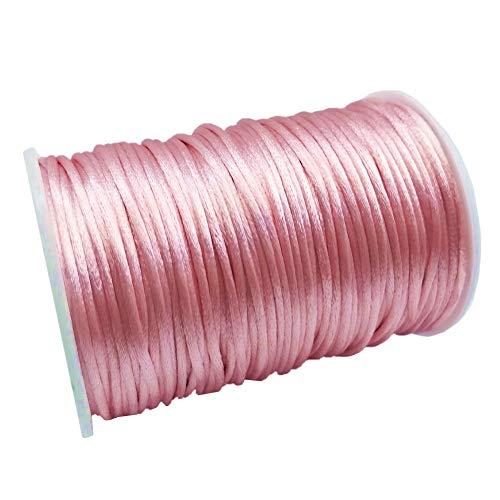 (FQTANJU 2mm x 100 Yards Premium Quality Rattail Nylon Satin Cord Roll, Kumihimo Rattail,Chinese Knot, Pink)