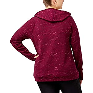 Ideology Womens Plus Size Space-Dyed Hooded, Pretty Plum, 2X