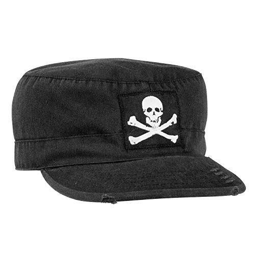 Rothco Vintage Military Fatigue Cap with Jolly Roger, XL Black (Vintage Military Fatigue Cap)