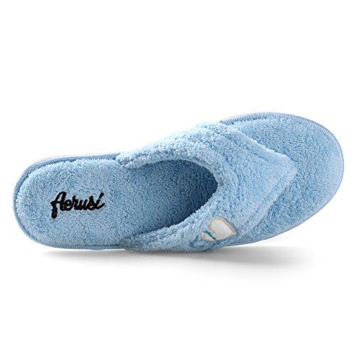 Aerusi Morbido Peluche Da Donna Cuore Arredamento Perizoma Spa Casa Infradito Pantofola Blu Ghiaccio