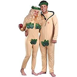 Adam & Eve Couples Eden Costume Set w/ Discreet Fig Leaves and Headpieces