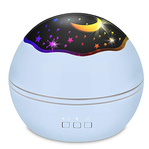 Star Projector Sky Night Lamp, MOKOQI Starry Sky/Ocean World 2-in-1 Lighting Night Lights, Rotating Projection 8 Colors Changing Lamps for Bedrooms Nursery Baby Gifts (Blue) (Best Tv Brand In The World)
