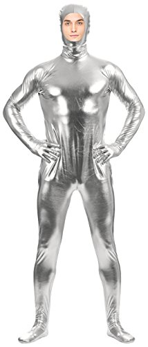 [VSVO Adult Silver Shiny Metallic Open Face Full Cover Zentai Supersuit Costume (Large, Silver)] (Latex Wolf Suit)