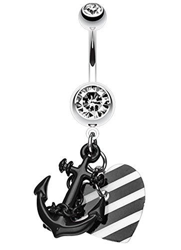 Vibrant Anchor Nautical Heart Belly Button Ring - 14 GA (1.6mm) - Black - Sold Individually