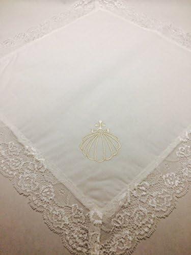 Concha bautizo PERSONALIZADA conchas de cristal nacarado pa/ñuelo de bautismo