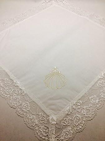 Concha bautizo PERSONALIZADA conchas de cristal nacarado + pañuelo de bautismo: Amazon.es: Hogar