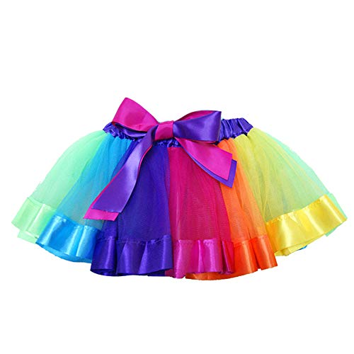 SENLIXIN Layered Skirt Girls' Mini Rainbow Tutu Skirt Bow Dance Dress Colorful Ruffle Tiered Tulle (S/ 0-2 Years, A)