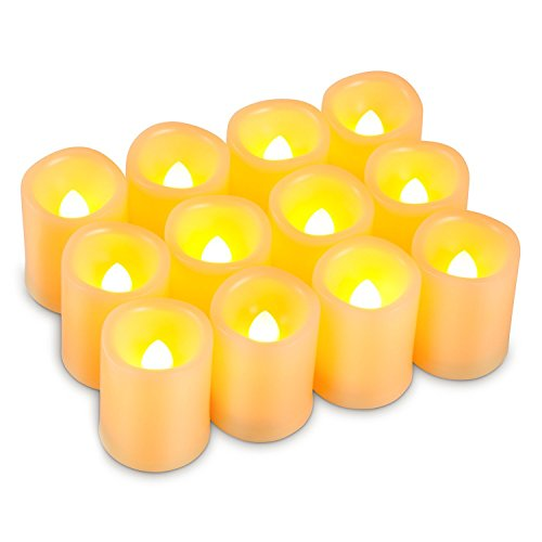 Kohree Flameless Battery Operated LED Pillar Candles Unscented Ivory Votive Timer Candles Daily Auto On Off, Amber Yellow Flame(12 Set)