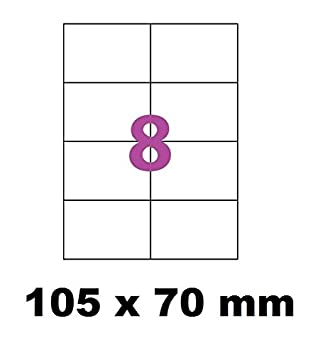 500 A4 hoja 8 pegatina 105 x 70 mm etiqueta de papel adhesivo para ...