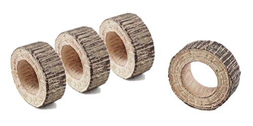 Rustic Style Tree Log Napkin Rings - Set of 4