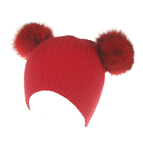 AWAYTR Baby Kids Toddler Warm Hat - Winter Wool Knit Thick Soft Stretch Beanie Cap (Red