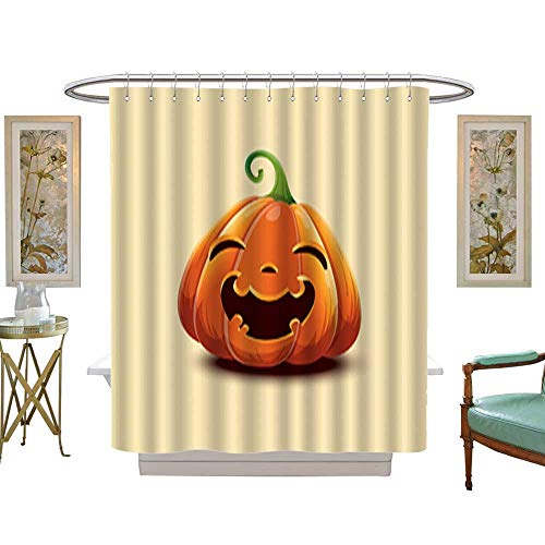 Iuvolux Shower Curtain CollectionRealistic Vector Halloween Pumpkin Happy face Halloween Pumpkin Isolated on Light Background 2. Home Art Paintings Pictures Decorations W72 x H84 Inch