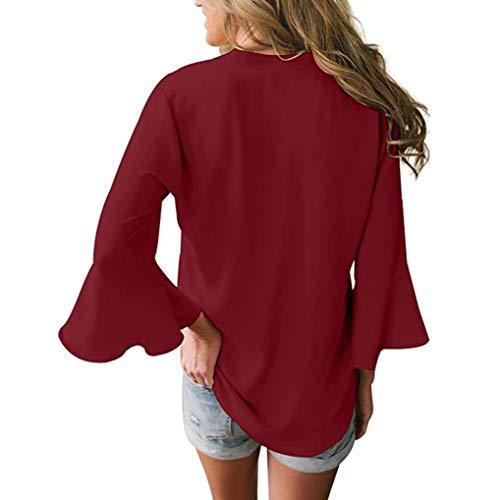 tops solido donna Wine lunghe casuale donna maniche chiffon da shirt allentato Wanshop camicetta t Red V a collo gqnwSF78