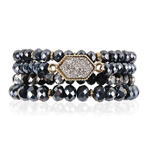 RIAH FASHION Bohemian Versatile Multi-Layer Bead Statement Bracelet - Stretch Strand Stackable Cuff Bangle Set Sparkly Crystal, Acrylic Druzy, Pave Fireball (Hexagon Acrylic Druzy - Hematite)