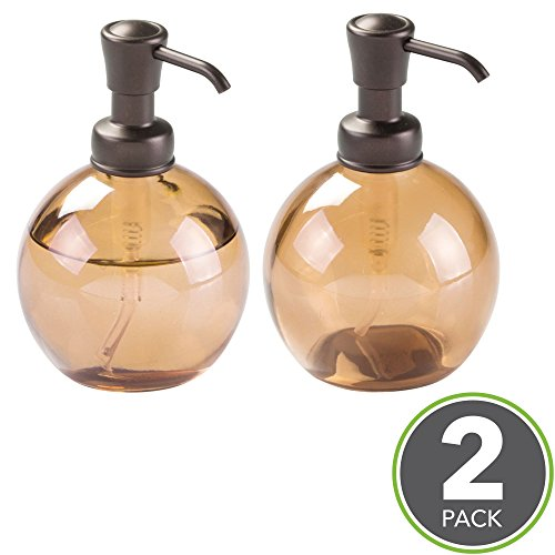 mDesign Round Glass Refillable Liquid Soap Dispenser Pump Bottle for Kitchen Sink, Bathroom Vanity Countertops, 14 Ounce, Holds Hand Lotion & Essential Oils - Pack of 2, Sand/Amber, Bronze Pump Head