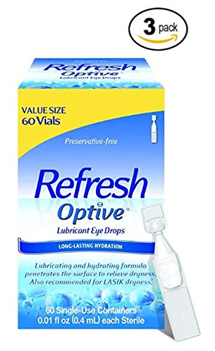 Personal Singles Lubricants Lubricants (Refresh Optive Lubricant Drops for Sensitive Eyes,  60 Vials, Preservative-free - Great Value Size (Pack of 3)- (180 Vials))